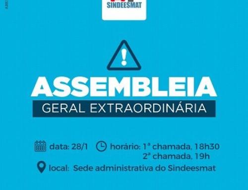 Sindeesmat convoca categoria para Assembleia Geral Extraordinária no dia 28